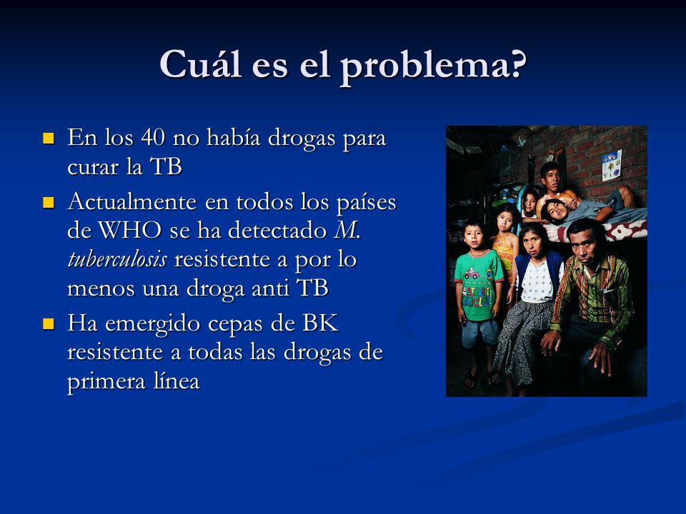 Cuál es el problema? En los 40 no había drogas para curar la TB En los 40 no había drogas para curar la TB Actualmente en todos los países de WHO se h