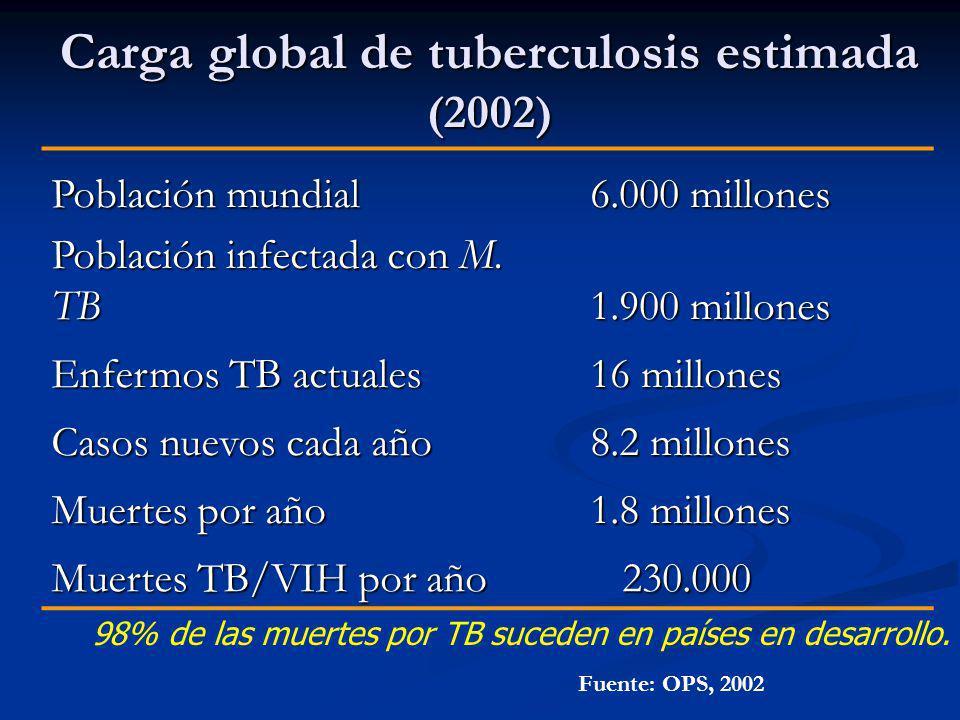 Carga global de tuberculosis estimada (2002) Población mundial 6.000 millones 6.000 millones Población infectada con M. TB 1.900 millones 1.900 millon