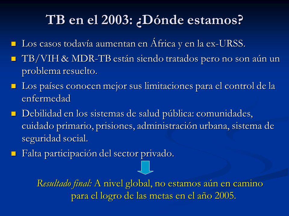 Los casos todavía aumentan en África y en la ex-URSS. Los casos todavía aumentan en África y en la ex-URSS. TB/VIH & MDR-TB están siendo tratados pero