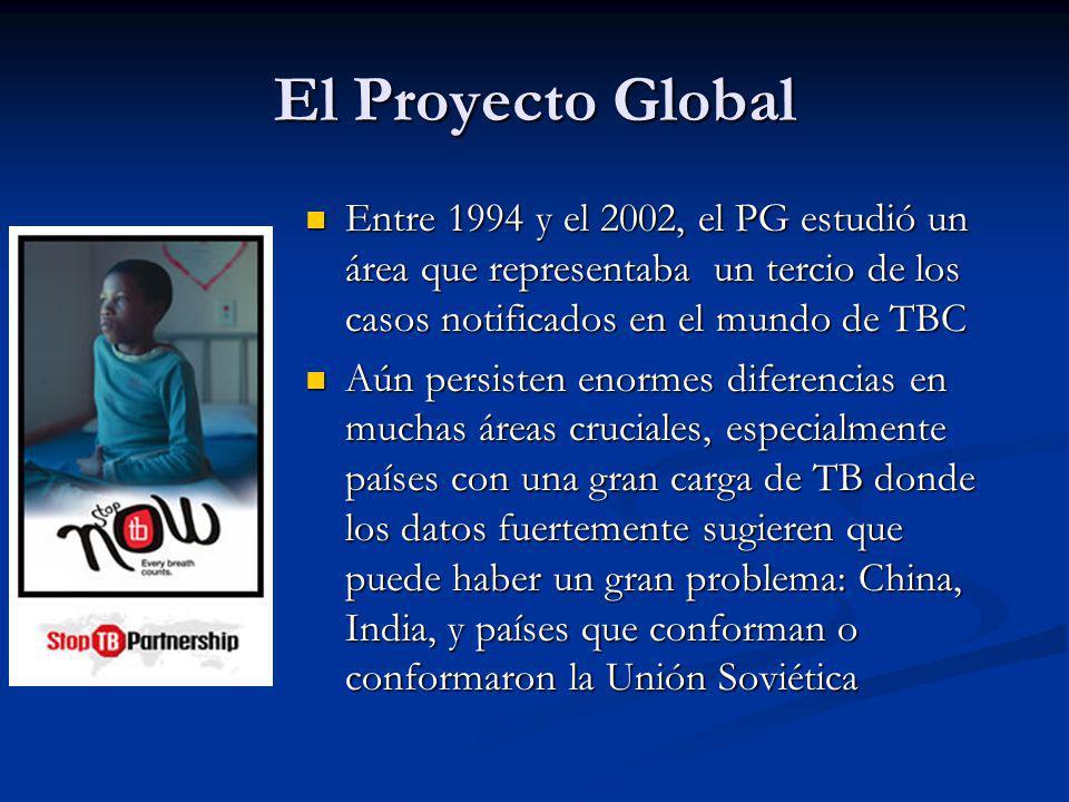 El Proyecto Global Entre 1994 y el 2002, el PG estudió un área que representaba un tercio de los casos notificados en el mundo de TBC Entre 1994 y el 2002, el PG estudió un área que representaba un tercio de los casos notificados en el mundo de TBC Aún persisten enormes diferencias en muchas áreas cruciales, especialmente países con una gran carga de TB donde los datos fuertemente sugieren que puede haber un gran problema: China, India, y países que conforman o conformaron la Unión Soviética Aún persisten enormes diferencias en muchas áreas cruciales, especialmente países con una gran carga de TB donde los datos fuertemente sugieren que puede haber un gran problema: China, India, y países que conforman o conformaron la Unión Soviética