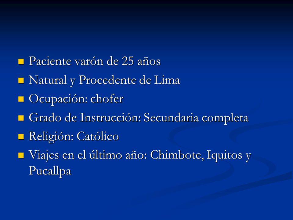 Paciente varón de 25 años Paciente varón de 25 años Natural y Procedente de Lima Natural y Procedente de Lima Ocupación: chofer Ocupación: chofer Grado de Instrucción: Secundaria completa Grado de Instrucción: Secundaria completa Religión: Católico Religión: Católico Viajes en el último año: Chimbote, Iquitos y Pucallpa Viajes en el último año: Chimbote, Iquitos y Pucallpa