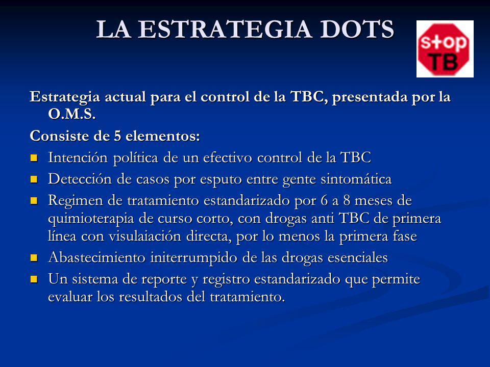 LA ESTRATEGIA DOTS Estrategia actual para el control de la TBC, presentada por la O.M.S. Consiste de 5 elementos: Intención política de un efectivo co