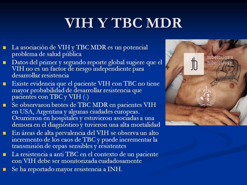 La asociación de VIH y TBC MDR es un potencial problema de salud pública Datos del primer y segundo reporte global sugiere que el VIH no es un factor