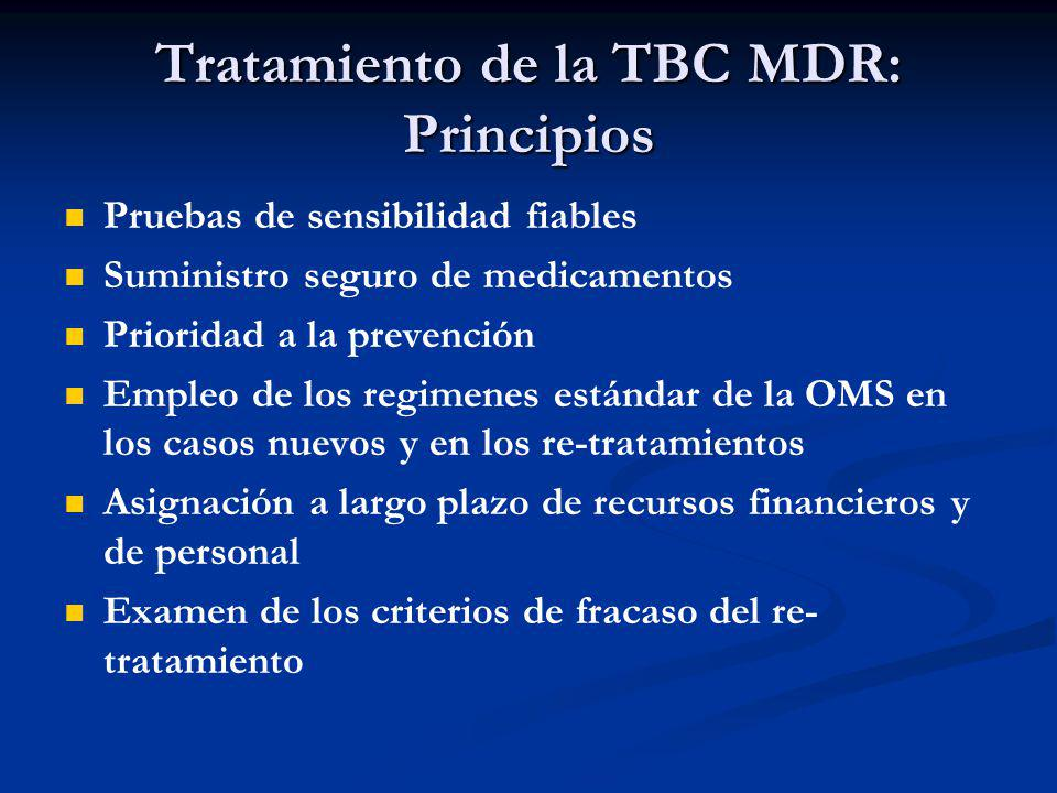 Tratamiento de la TBC MDR: Principios Pruebas de sensibilidad fiables Suministro seguro de medicamentos Prioridad a la prevención Empleo de los regime