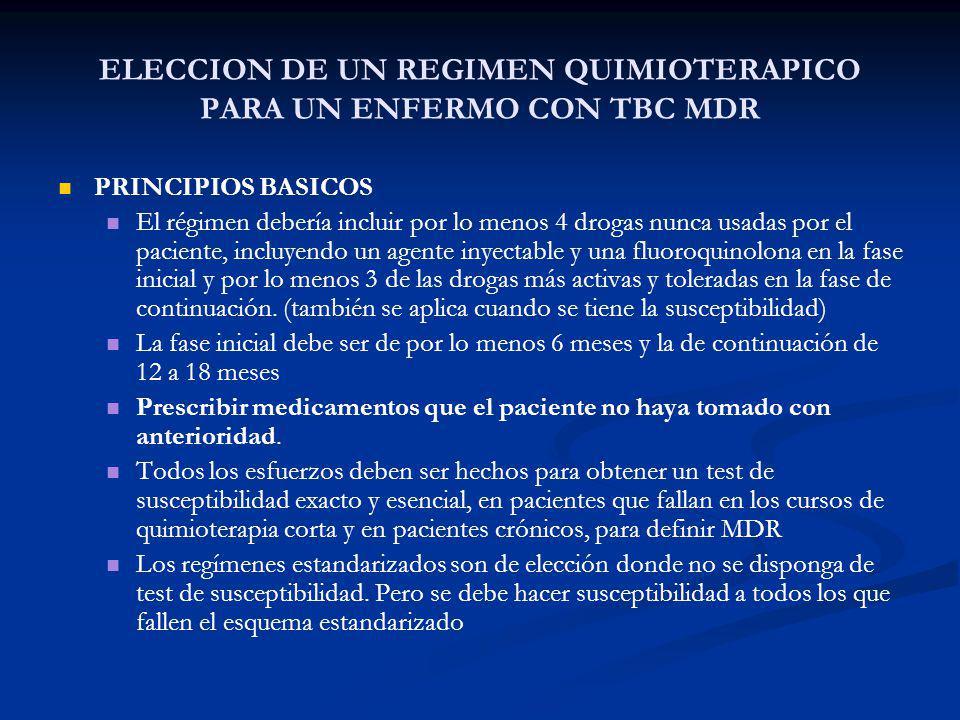 ELECCION DE UN REGIMEN QUIMIOTERAPICO PARA UN ENFERMO CON TBC MDR PRINCIPIOS BASICOS El régimen debería incluir por lo menos 4 drogas nunca usadas por