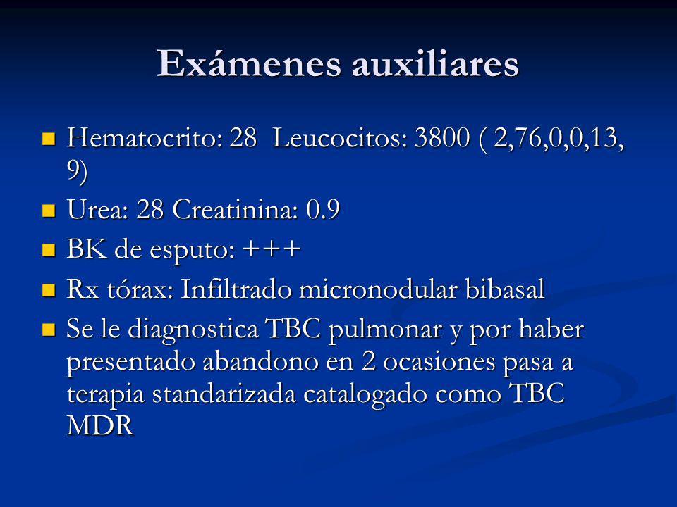 Exámenes auxiliares Hematocrito: 28 Leucocitos: 3800 ( 2,76,0,0,13, 9) Hematocrito: 28 Leucocitos: 3800 ( 2,76,0,0,13, 9) Urea: 28 Creatinina: 0.9 Urea: 28 Creatinina: 0.9 BK de esputo: +++ BK de esputo: +++ Rx tórax: Infiltrado micronodular bibasal Rx tórax: Infiltrado micronodular bibasal Se le diagnostica TBC pulmonar y por haber presentado abandono en 2 ocasiones pasa a terapia standarizada catalogado como TBC MDR Se le diagnostica TBC pulmonar y por haber presentado abandono en 2 ocasiones pasa a terapia standarizada catalogado como TBC MDR