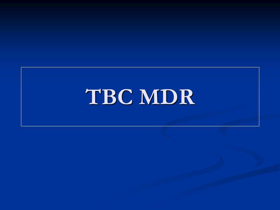 Tratamiento de la TBC MDR: Principios Pruebas de sensibilidad fiables Suministro seguro de medicamentos Prioridad a la prevención Empleo de los regimenes estándar de la OMS en los casos nuevos y en los re-tratamientos Asignación a largo plazo de recursos financieros y de personal Examen de los criterios de fracaso del re- tratamiento