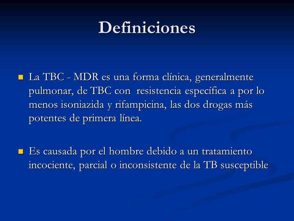 Definiciones TB susceptible puede ser curada en 6 a 8 meses con drogas anti TB de primera línea: H,R,P,Z TB susceptible puede ser curada en 6 a 8 meses con drogas anti TB de primera línea: H,R,P,Z MDR-TB es curable, pero requiere un periodo prolongado que toma por lo menos 18 meses y es más tóxico MDR-TB es curable, pero requiere un periodo prolongado que toma por lo menos 18 meses y es más tóxico Las drogas de segunda línea son mayormente caras Las drogas de segunda línea son mayormente caras Pacientes con TB MDR que no tienen acceso a estas drogas son irremediablemente incurables.
