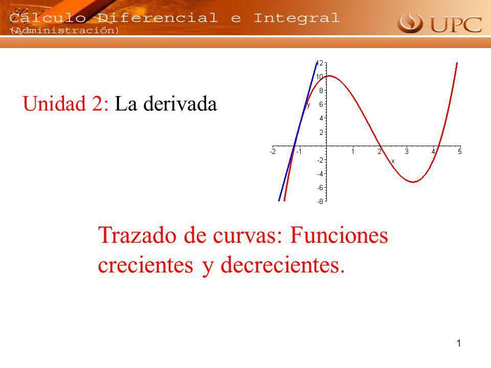 1 Unidad 2: La derivada Trazado de curvas: Funciones crecientes y decrecientes.