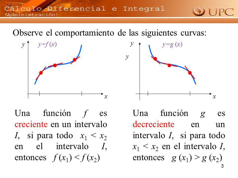 3 Observe el comportamiento de las siguientes curvas: Una función f es creciente en un intervalo I, si para todo x 1 < x 2 en el intervalo I, entonces
