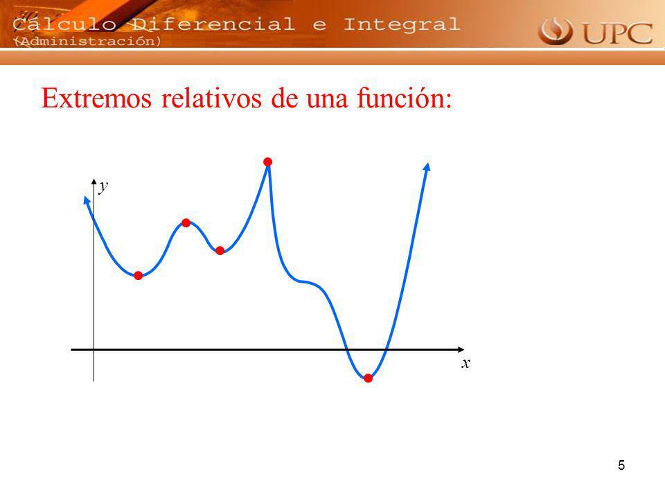 6 Se denomina valor extremo de una función f a un valor máximo o un valor mínimo de la misma.