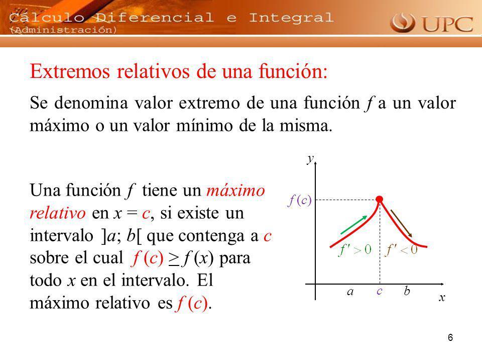 6 Se denomina valor extremo de una función f a un valor máximo o un valor mínimo de la misma. Una función f tiene un máximo relativo en x = c, si exis