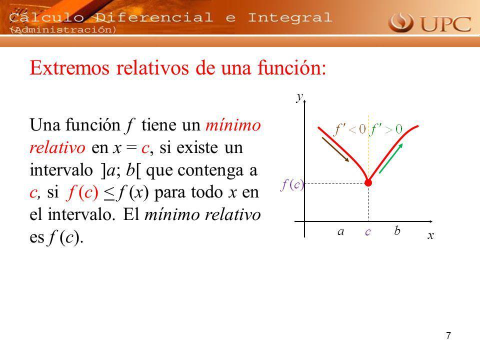 7 Extremos relativos de una función: Una función f tiene un mínimo relativo en x = c, si existe un intervalo ]a; b[ que contenga a c, si f (c) < f (x)