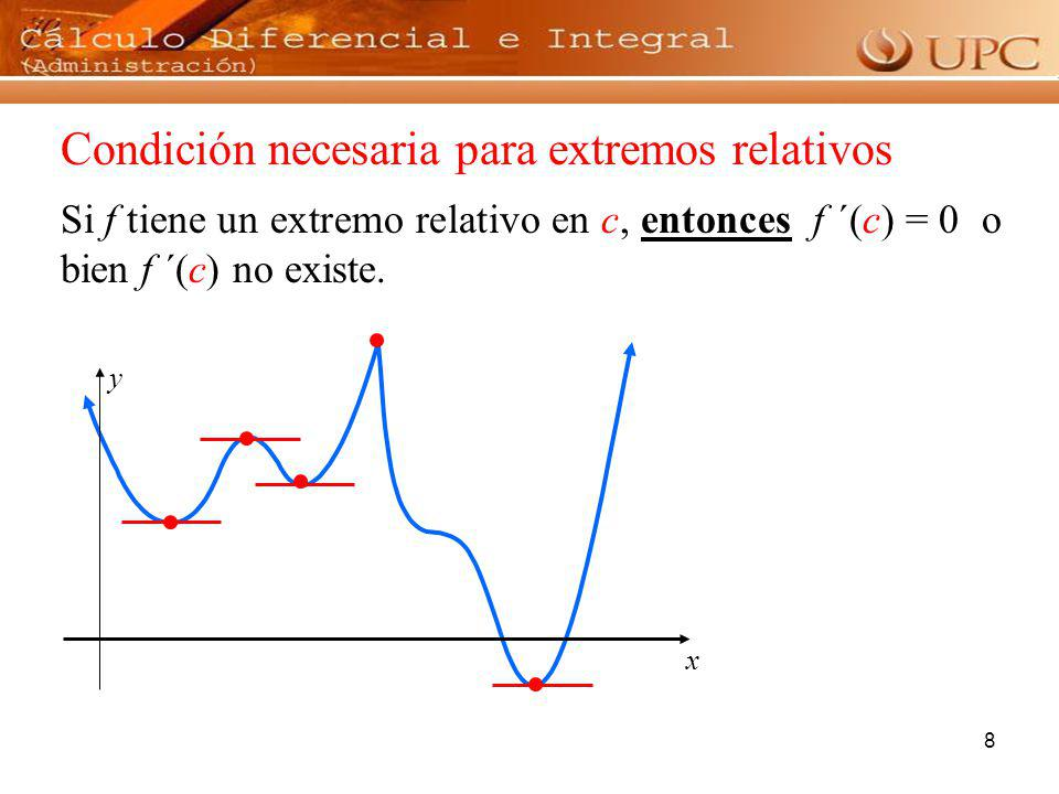 8 x y Condición necesaria para extremos relativos Si f tiene un extremo relativo en c, entonces f ´(c) = 0 o bien f ´(c) no existe.