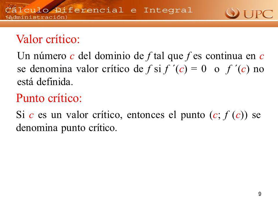 9 Valor crítico: Un número c del dominio de f tal que f es continua en c se denomina valor crítico de f si f ´(c) = 0 o f ´(c) no está definida. Si c