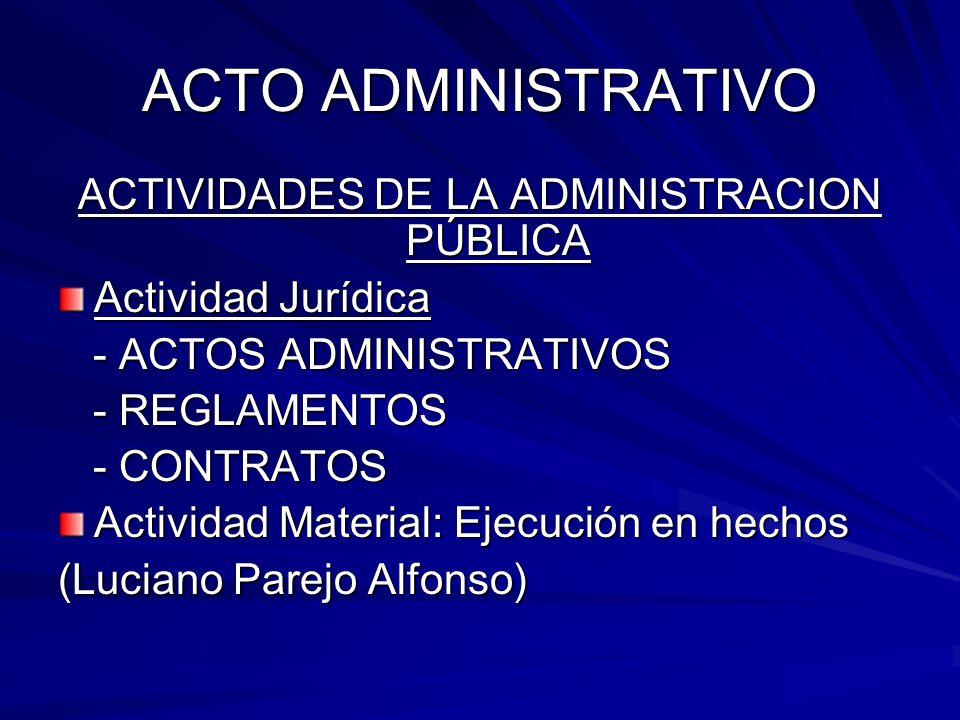 ACTO ADMINISTRATIVO ACTIVIDADES DE LA ADMINISTRACION PÚBLICA Actividad Jurídica - ACTOS ADMINISTRATIVOS - ACTOS ADMINISTRATIVOS - REGLAMENTOS - REGLAMENTOS - CONTRATOS - CONTRATOS Actividad Material: Ejecución en hechos (Luciano Parejo Alfonso)