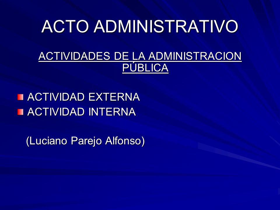 ACTO ADMINISTRATIVO ACTIVIDADES DE LA ADMINISTRACION PÚBLICA ACTIVIDAD EXTERNA ACTIVIDAD INTERNA (Luciano Parejo Alfonso) (Luciano Parejo Alfonso)