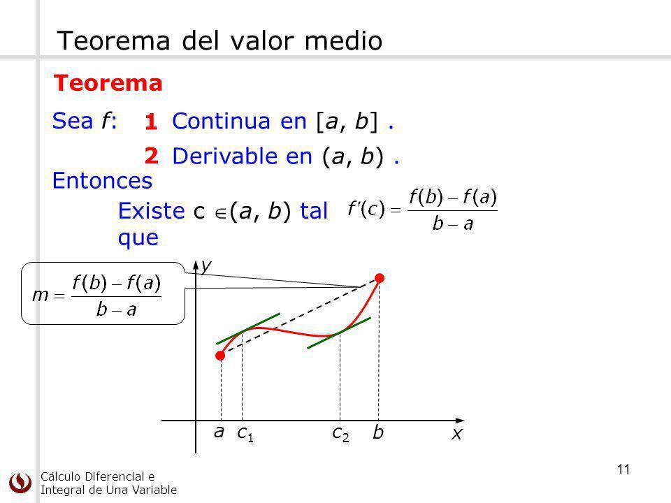 Cálculo Diferencial e Integral de Una Variable Teorema del valor medio 2 Derivable en (a, b). 1 Continua en [a, b]. Sea f: Existe c (a, b) tal que Ent