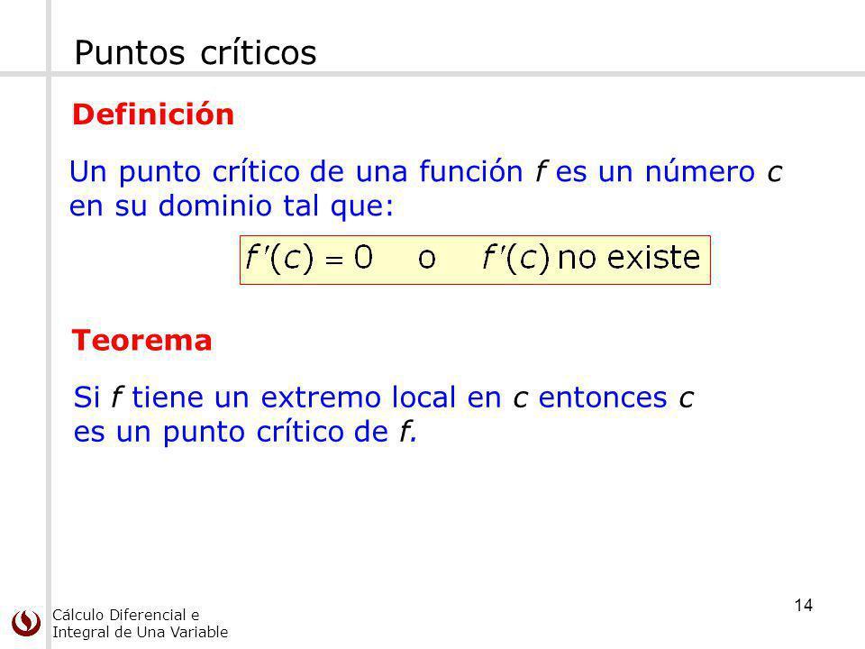 Cálculo Diferencial e Integral de Una Variable Puntos críticos Un punto crítico de una función f es un número c en su dominio tal que: Definición Teor