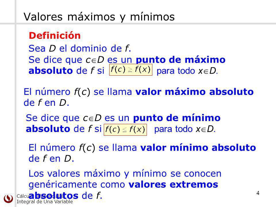 Cálculo Diferencial e Integral de Una Variable Se dice que cD es un punto de máximo absoluto de f si para todo x D. Valores máximos y mínimos Sea D el