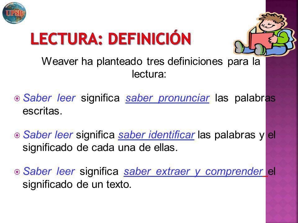Weaver ha planteado tres definiciones para la lectura: Saber leer significa saber pronunciar las palabras escritas. Saber leer significa saber identif