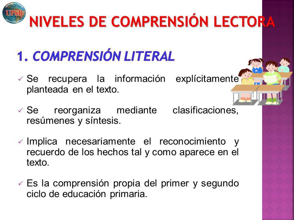 Se recupera la información explícitamente planteada en el texto. Se reorganiza mediante clasificaciones, resúmenes y síntesis. Implica necesariamente