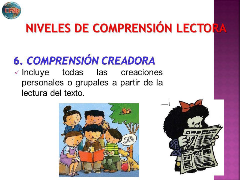Incluye todas las creaciones personales o grupales a partir de la lectura del texto. NIVELES DE COMPRENSIÓN LECTORA