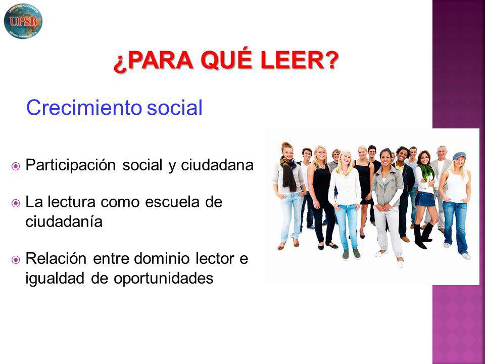 Participación social y ciudadana La lectura como escuela de ciudadanía Relación entre dominio lector e igualdad de oportunidades Crecimiento social ¿P