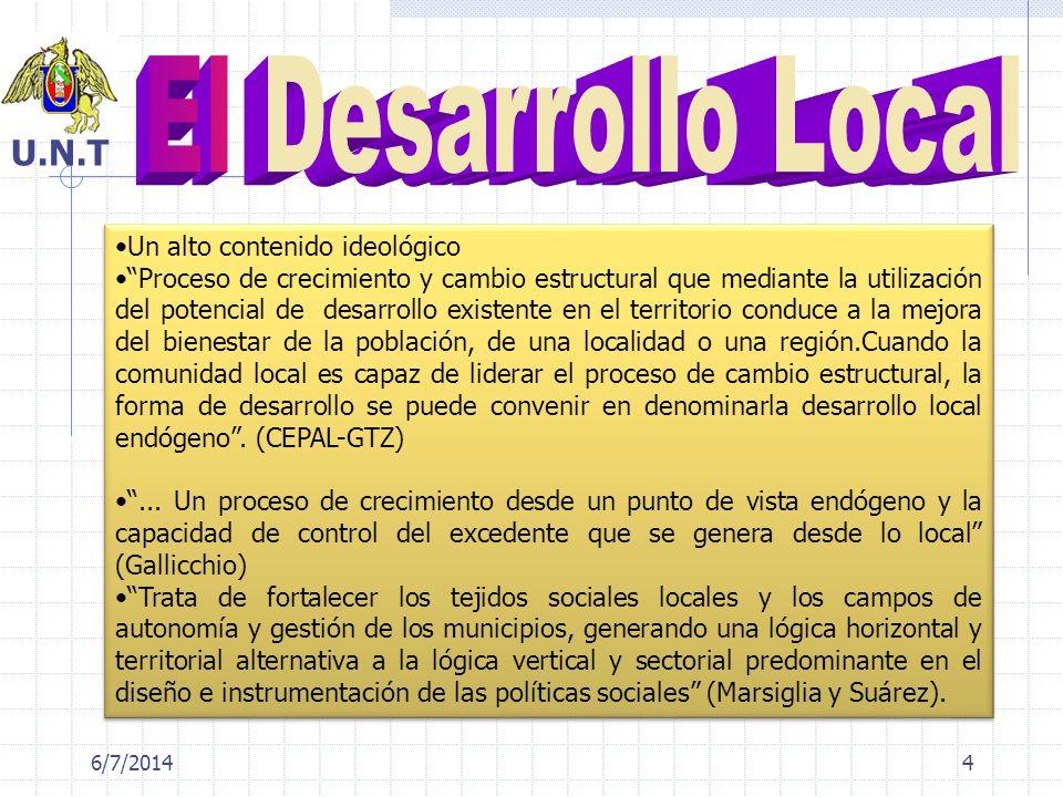6/7/20144 Un alto contenido ideológico Proceso de crecimiento y cambio estructural que mediante la utilización del potencial de desarrollo existente e