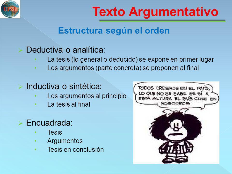 Deductiva o analítica: La tesis (lo general o deducido) se expone en primer lugar Los argumentos (parte concreta) se proponen al final Inductiva o sin