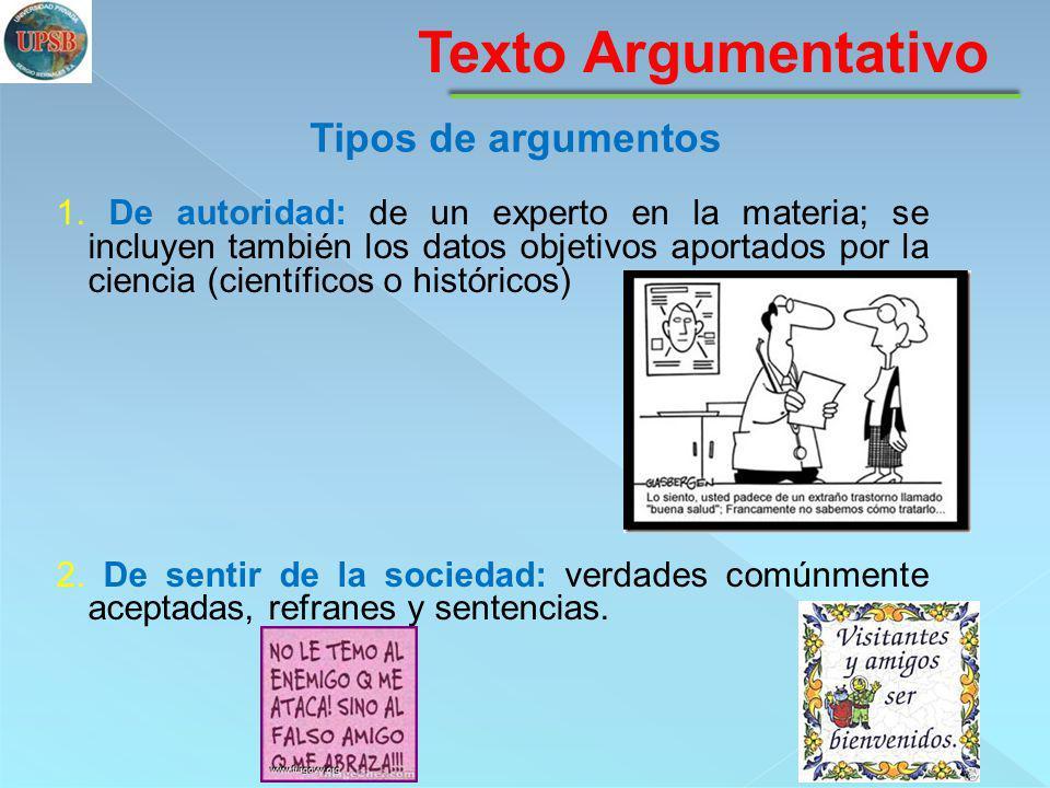 Texto Argumentativo Tipos de argumentos 3.De experiencia individual: el sujeto lo ha vivido.