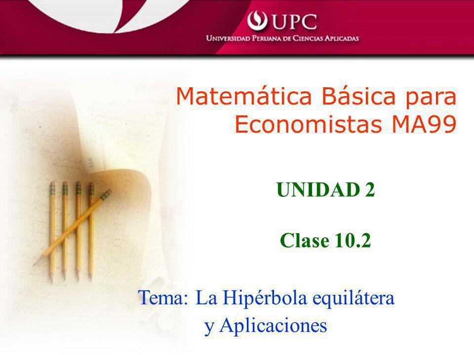 Matemática Básica para Economistas MA99 Tema: La Hipérbola equilátera y Aplicaciones UNIDAD 2 Clase 10.2