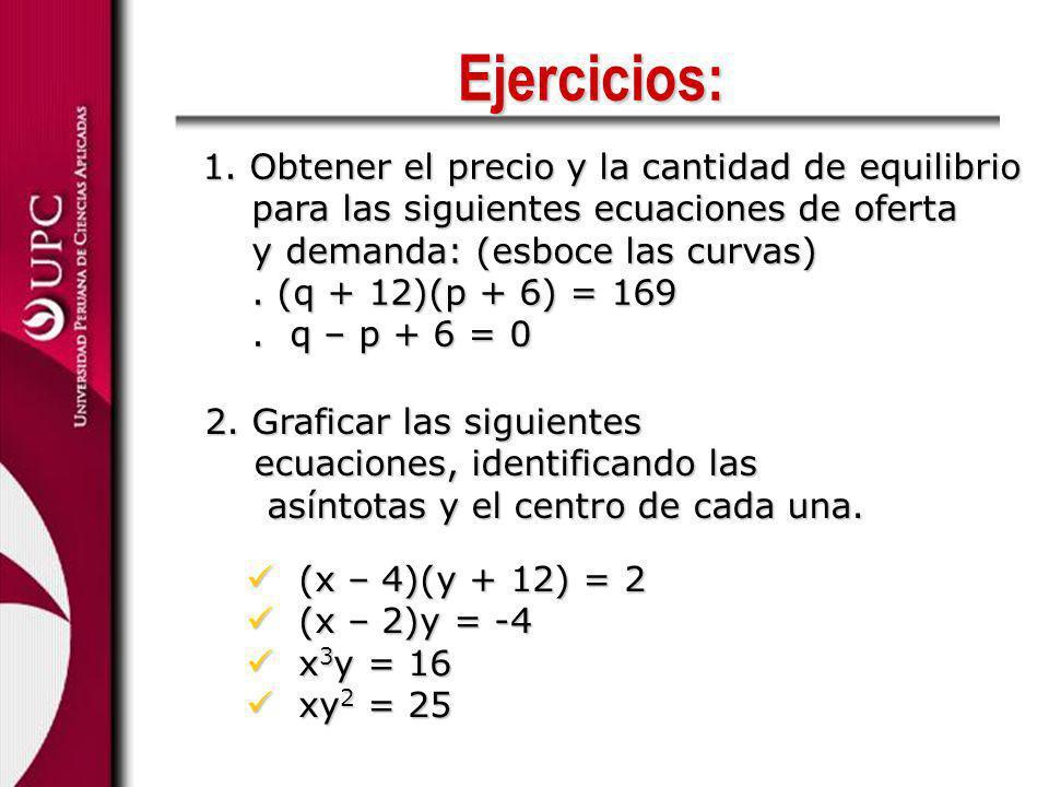Ejercicios: 2. Graficar las siguientes ecuaciones, identificando las ecuaciones, identificando las asíntotas y el centro de cada una. asíntotas y el c