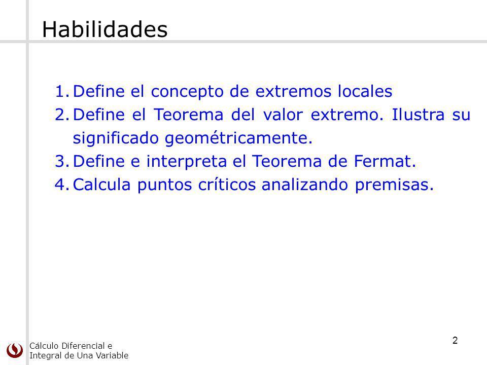 Cálculo Diferencial e Integral de Una Variable Puntos críticos Un punto crítico de una función f es un número c en su dominio tal que: Definición Teorema Si f tiene un extremo local en c entonces c es un punto crítico de f.
