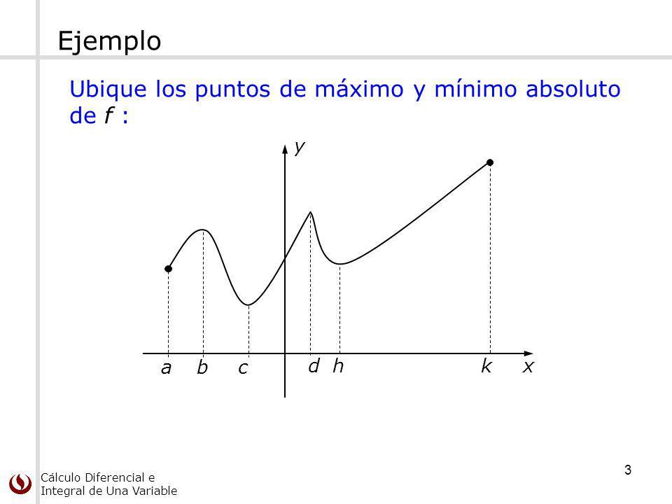 Cálculo Diferencial e Integral de Una Variable Ejemplo y x a c1c1 c2c2 c3c3 c4c4 c2c2 c5c5 c6c6 c7c7 puntos críticos 14