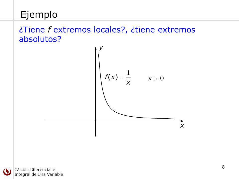 Cálculo Diferencial e Integral de Una Variable Teorema del valor extremo Si f es continua en [a, b] entonces: f alcanza un máximo absoluto f (c) y un mínimo absoluto f (d) en algunos números c y d de [a, b].