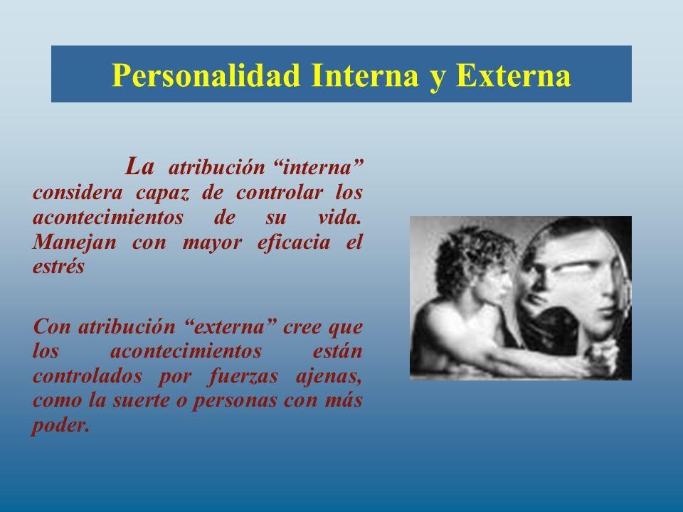 Personalidad Interna y Externa La atribución interna considera capaz de controlar los acontecimientos de su vida.