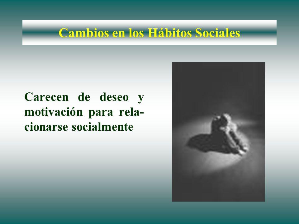 Cambios en los Hábitos Sociales Carecen de deseo y motivación para rela- cionarse socialmente
