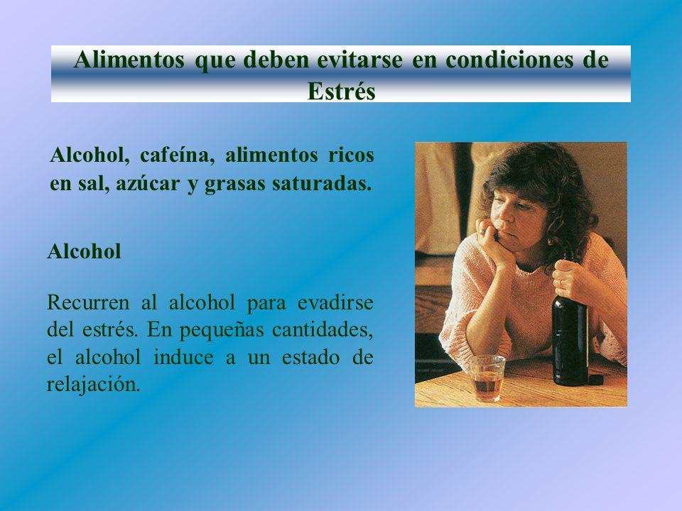 Alimentos que deben evitarse en condiciones de Estrés Alcohol, cafeína, alimentos ricos en sal, azúcar y grasas saturadas.