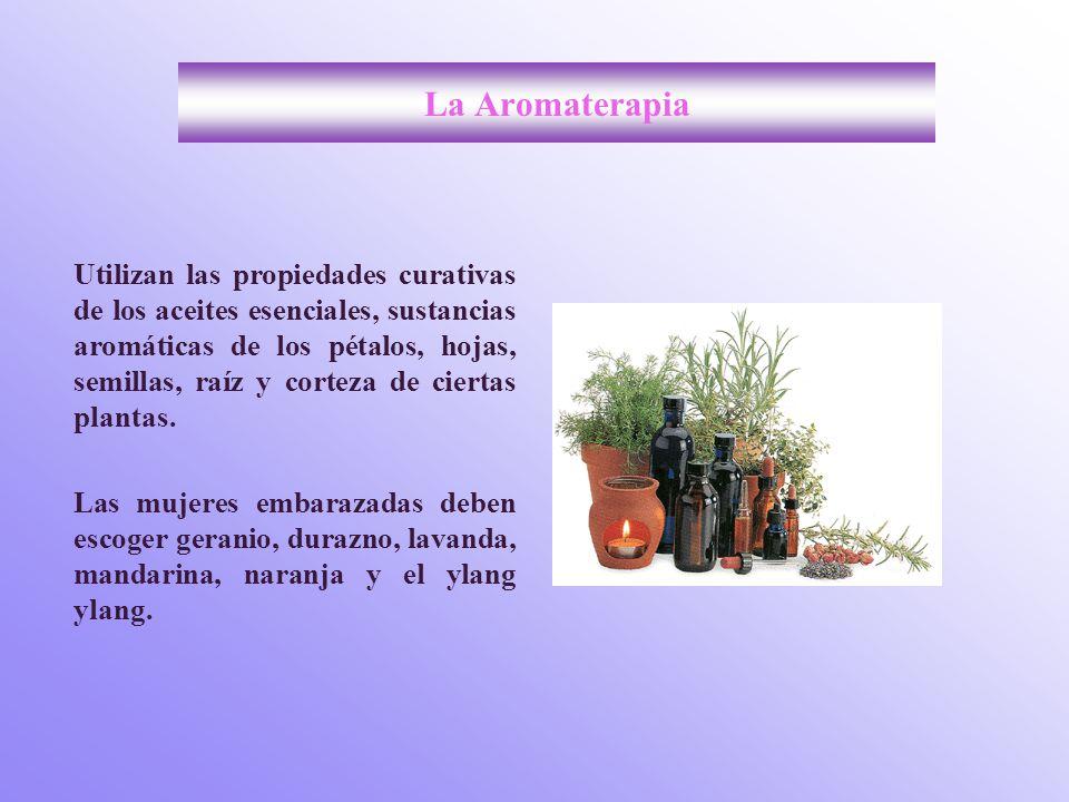 La Aromaterapia Utilizan las propiedades curativas de los aceites esenciales, sustancias aromáticas de los pétalos, hojas, semillas, raíz y corteza de ciertas plantas.