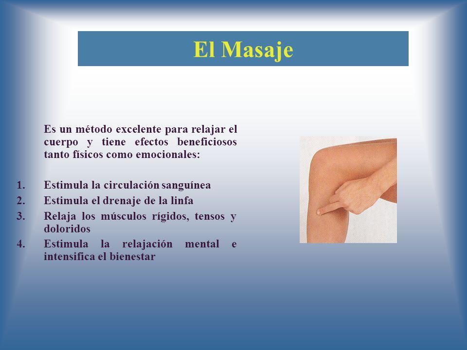 El Masaje Es un método excelente para relajar el cuerpo y tiene efectos beneficiosos tanto físicos como emocionales: 1.Estimula la circulación sanguínea 2.Estimula el drenaje de la linfa 3.Relaja los músculos rígidos, tensos y doloridos 4.Estimula la relajación mental e intensifica el bienestar