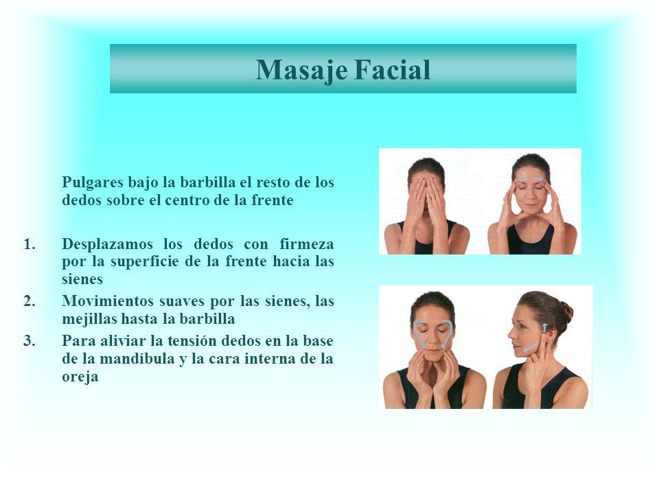 Masaje Facial Pulgares bajo la barbilla el resto de los dedos sobre el centro de la frente 1.Desplazamos los dedos con firmeza por la superficie de la frente hacia las sienes 2.Movimientos suaves por las sienes, las mejillas hasta la barbilla 3.Para aliviar la tensión dedos en la base de la mandíbula y la cara interna de la oreja