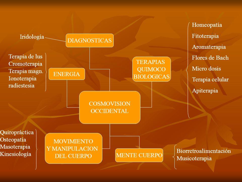 COSMOVISION OCCIDENTAL TERAPIAS QUIMOCO BIOLOGICAS MENTE CUERPO MOVIMIENTO Y MANIPULACION DEL CUERPO DIAGNOSTICAS ENERGIA Homeopatía Fitoterapia Aromaterapia Flores de Bach Micro dosis Terapia celular Apiterapia Biorretroalimentación Musicoterapia Iridología Terapia de lus Cromoterapia Terapia magn.