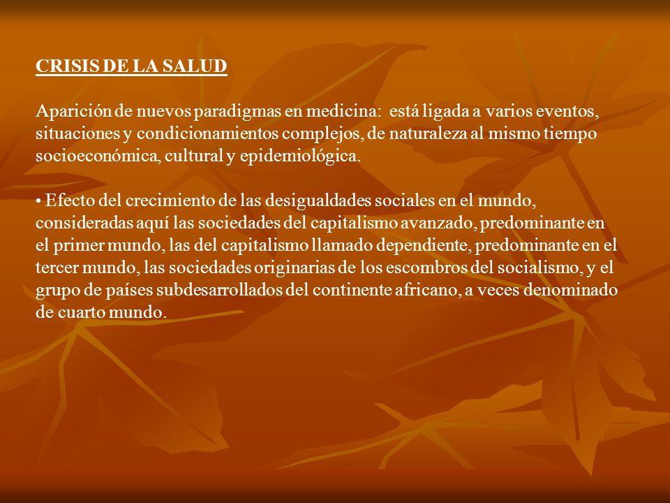 CRISIS DE LA SALUD Aparición de nuevos paradigmas en medicina: está ligada a varios eventos, situaciones y condicionamientos complejos, de naturaleza al mismo tiempo socioeconómica, cultural y epidemiológica.