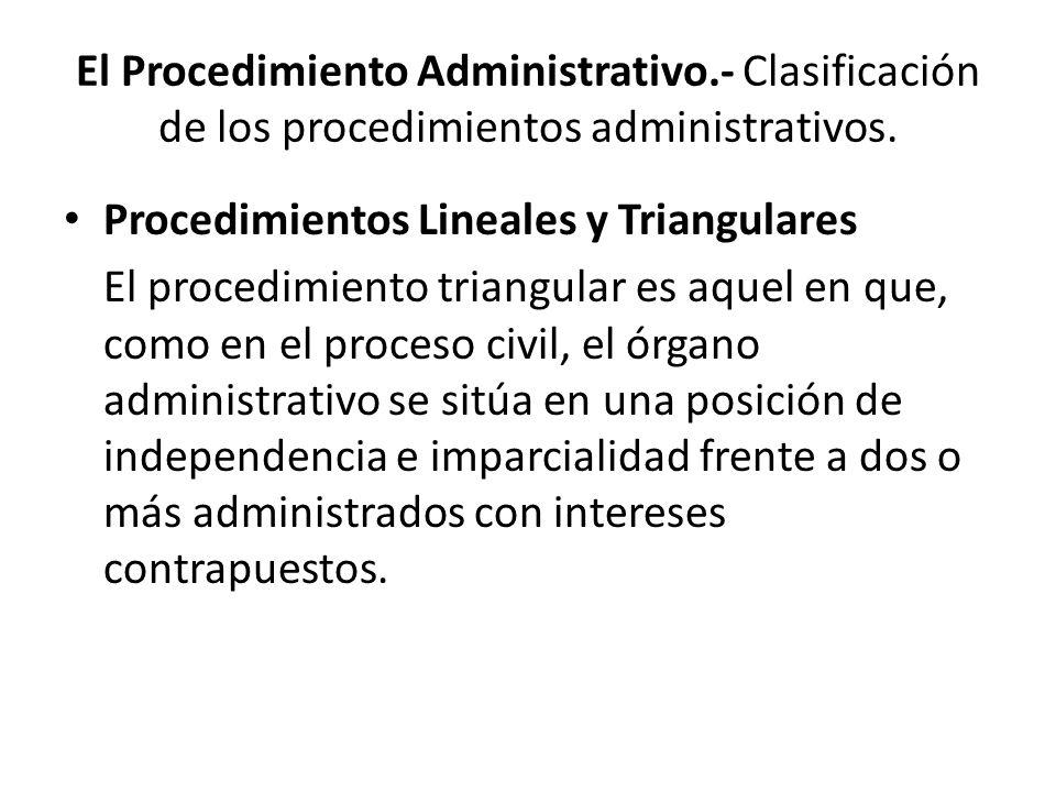 El Procedimiento Administrativo.- Clasificación de los procedimientos administrativos. Procedimientos Lineales y Triangulares El procedimiento triangu
