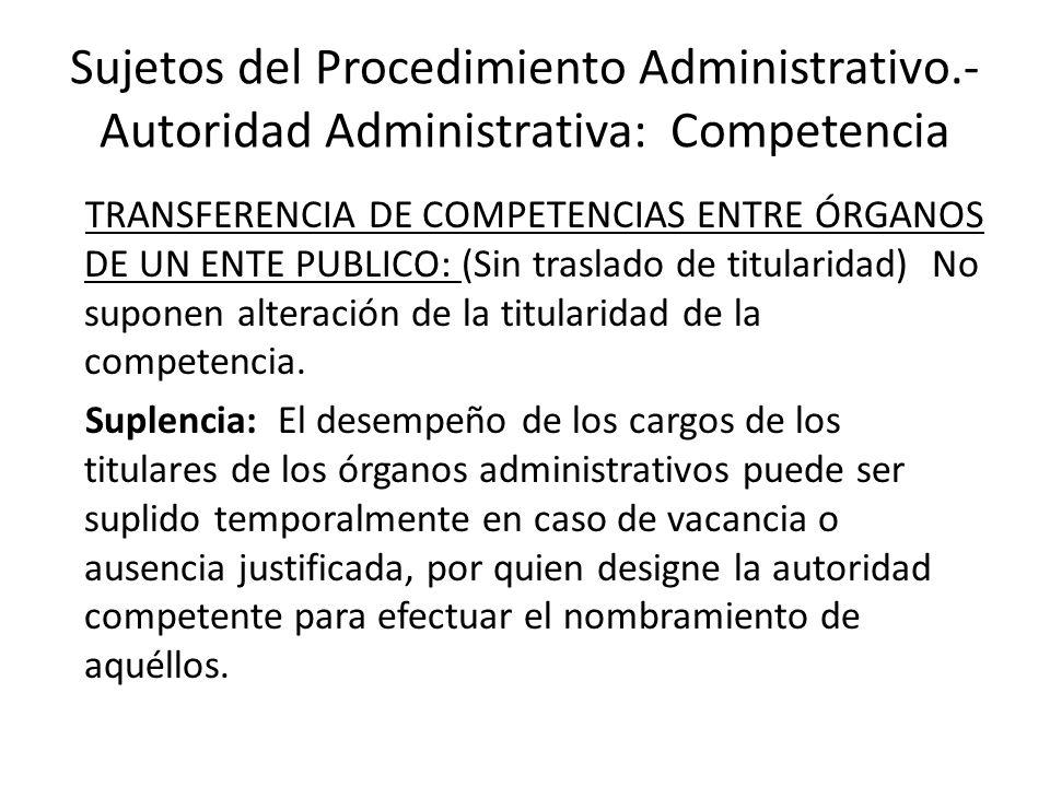 Sujetos del Procedimiento Administrativo.- Autoridad Administrativa: Competencia TRANSFERENCIA DE COMPETENCIAS ENTRE ÓRGANOS DE UN ENTE PUBLICO: (Sin