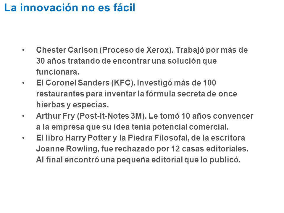 Chester Carlson (Proceso de Xerox). Trabajó por más de 30 años tratando de encontrar una solución que funcionara. El Coronel Sanders (KFC). Investigó
