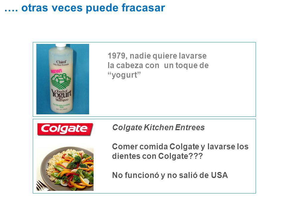 1979, nadie quiere lavarse la cabeza con un toque de yogurt Colgate Kitchen Entrees Comer comida Colgate y lavarse los dientes con Colgate??? No funci