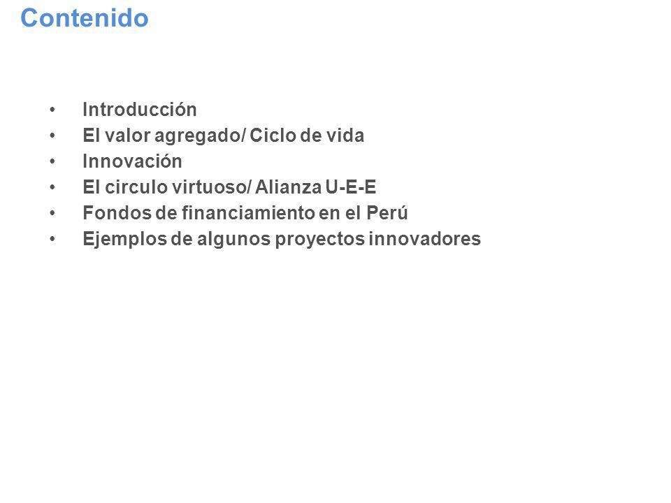 Contenido Introducción El valor agregado/ Ciclo de vida Innovación El circulo virtuoso/ Alianza U-E-E Fondos de financiamiento en el Perú Ejemplos de