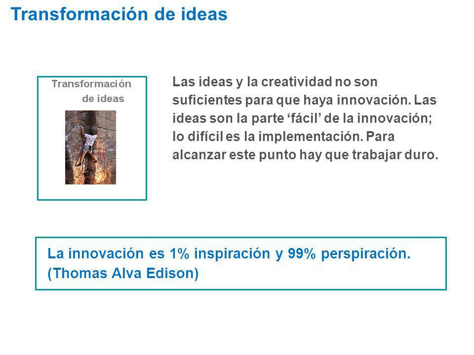 Las ideas y la creatividad no son suficientes para que haya innovación. Las ideas son la parte fácil de la innovación; lo difícil es la implementación